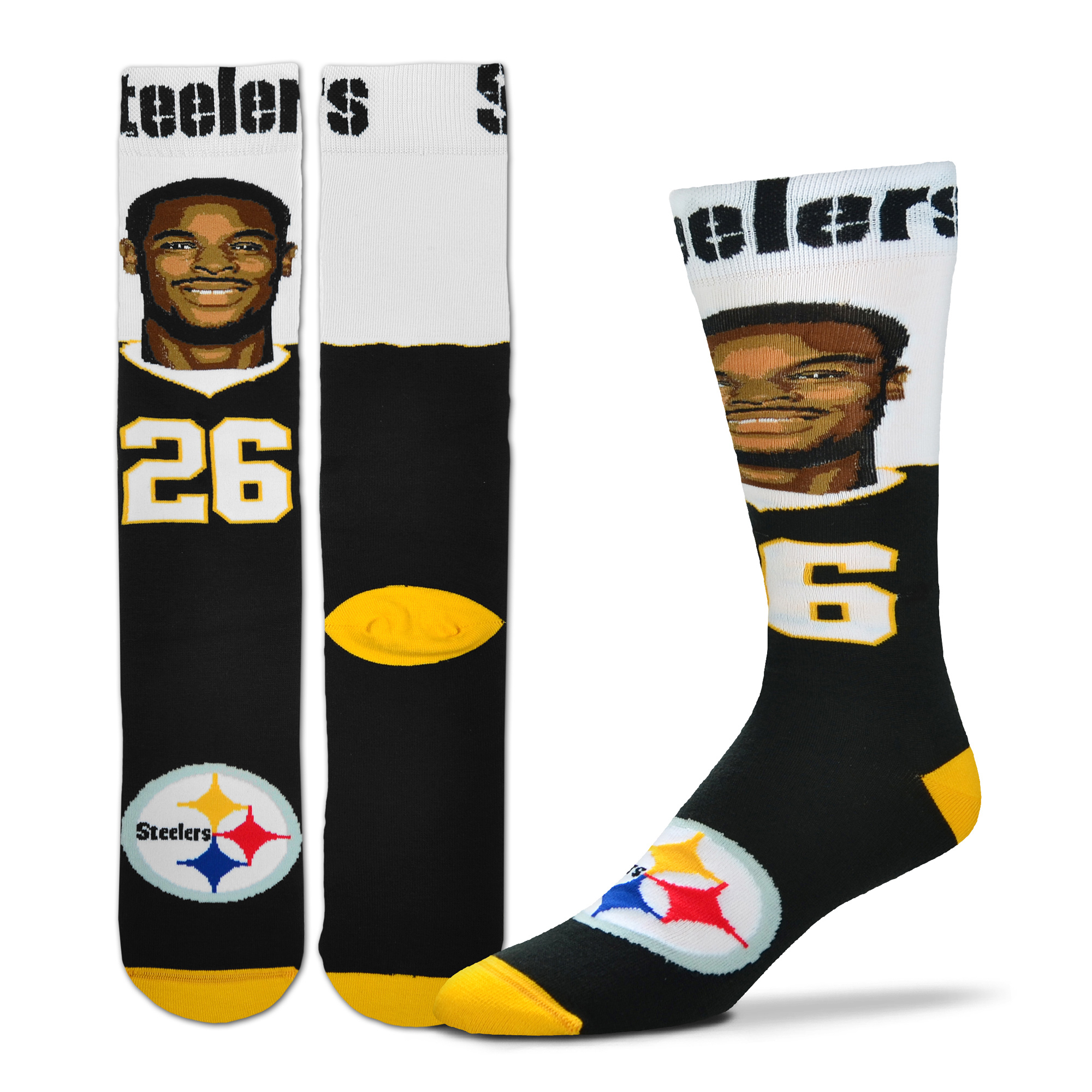 Le'Veon Bell Pittsburgh Steelers For Bare Feet Youth Selfie Socks - No Size