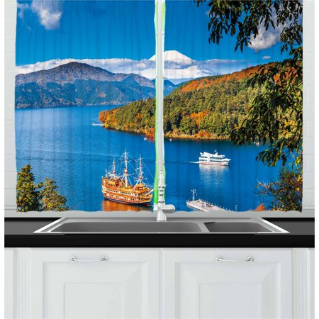 Pirate Ship Curtains 2 Panels Set, Lake Ashi Mount Fuji Japan Town Hakone Travel Touristic Destination, Window Drapes for Living Room Bedroom, 55W X 39L Inches, Green Blue Orange, by Ambesonne