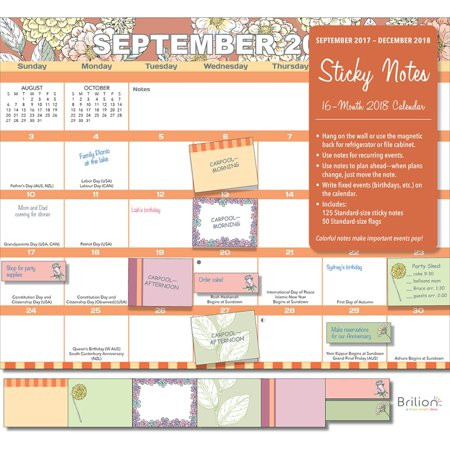 2018 sticky notes wall calendar organizer office organizer by