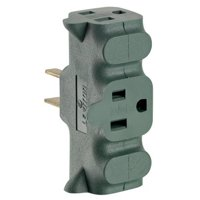 Leviton  004-00694-GRN 15 Amp 2-Pole 3-Wire Non-Grounding Plug-In Adapter