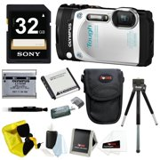 Olympus TG-870 Waterproof Digital Camera (White) w/ 32GB SD Card & Battery Pack Bundle