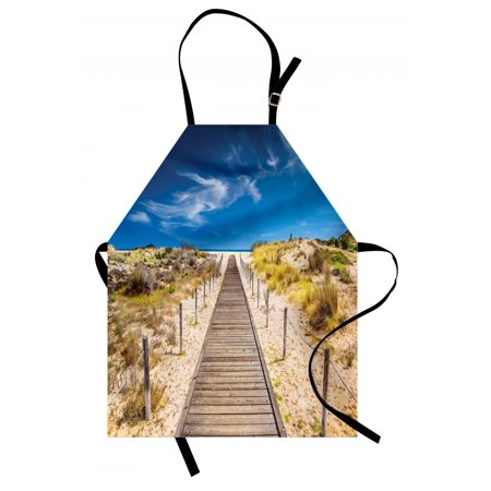 Beach Apron Walkway into the Wild Idyllic Endless Sky Relaxing Resting Tranquil Quiet Seashore, Unisex Kitchen Bib Apron with Adjustable Neck for Cooking Baking Gardening, Cream Blue, by Ambesonne