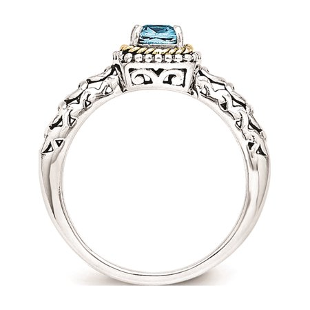 Sterling Silver w/14k Gold Blue Topaz Ring - image 2 of 6