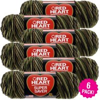 Red Heart Super Saver Yarn - Camouflage, Multipack of 6