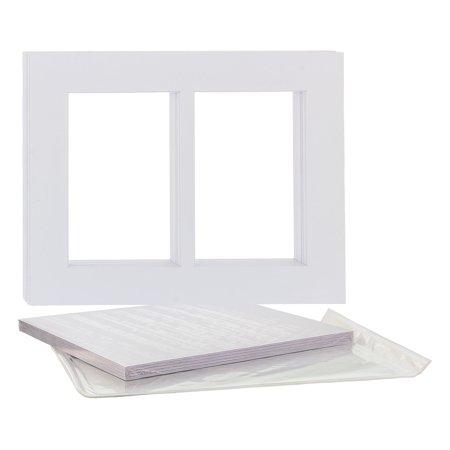 U.S. Art Supply 8X10 White Multi-Window Photo Mat Board Set - Mats, Backboard & Clear Bags - 10 - Photo Supplies
