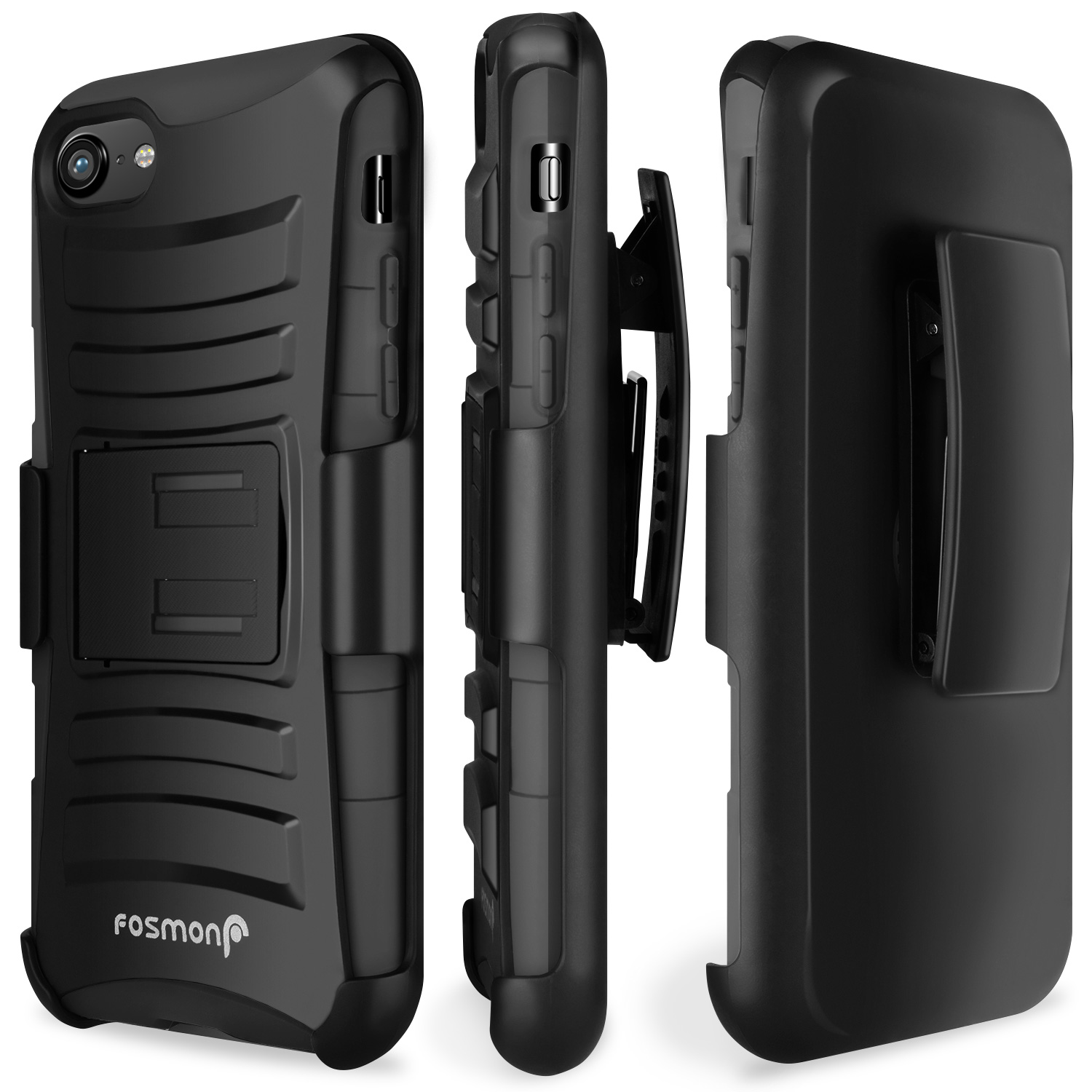 """Fosmon STURDY Shell Holster Case with Kickstand for Apple iPhone 8/7 (4.7"""") - Black/Black"""