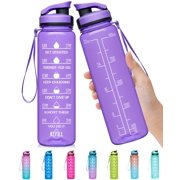Elvira 32oz Large Water Bottle with Motivational Time Marker & Removable Strainer,Fast Flow BPA Free Non-Toxic for Fitness, Gym and Outdoor Sports A4-Light Purple