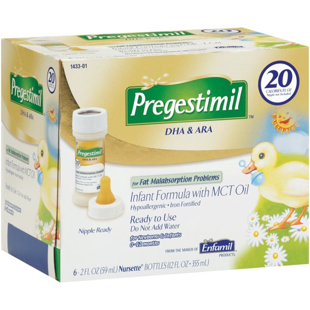 Enfamil Pregestimil Baby Formula, for Fat Malabsorption Problems - Nursette Bottle 2 oz (6 Bottles)