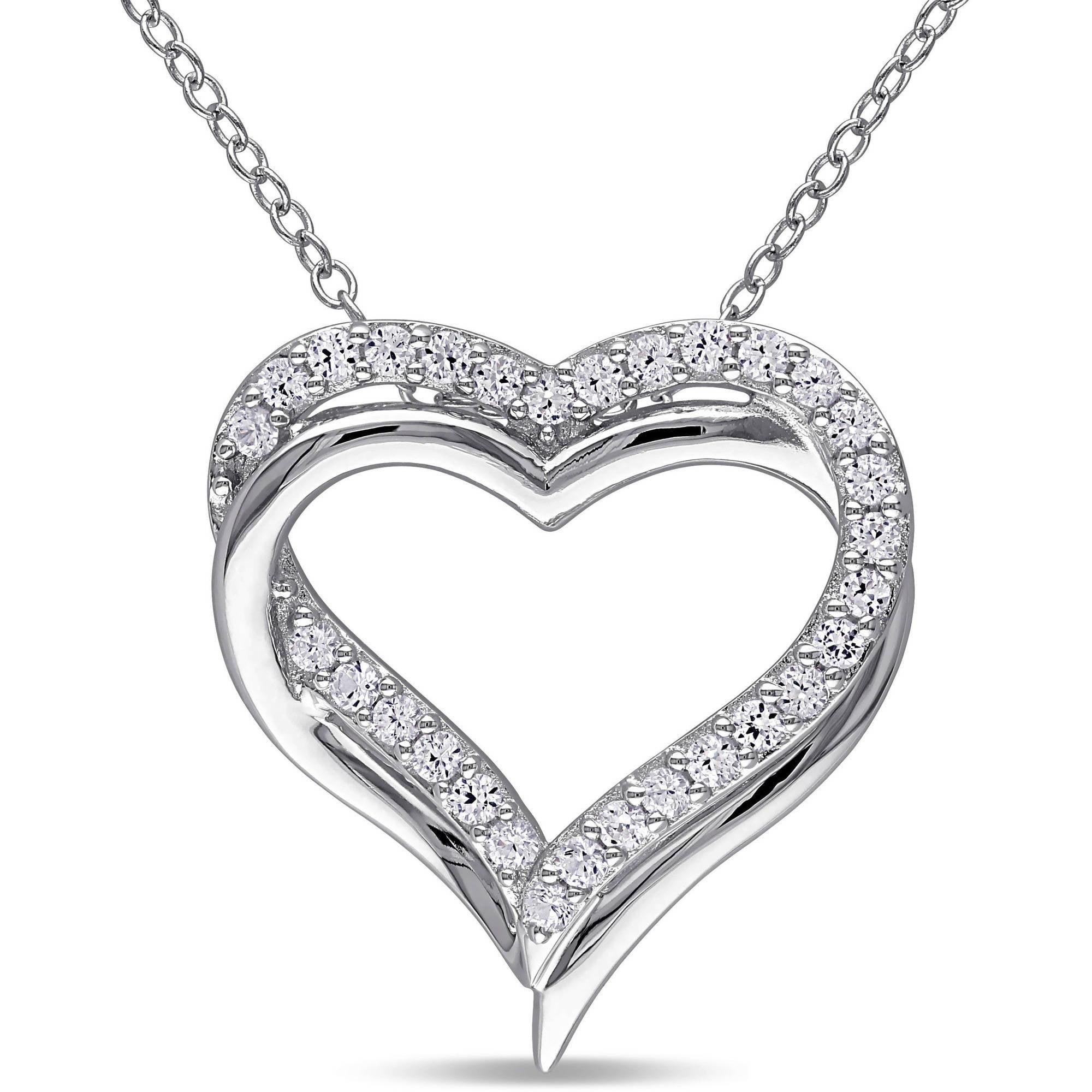 """Miabella 5/8 Carat T.G.W. Created White Sapphire Sterling Silver Interlocking Heart Pendant, 18"""""""