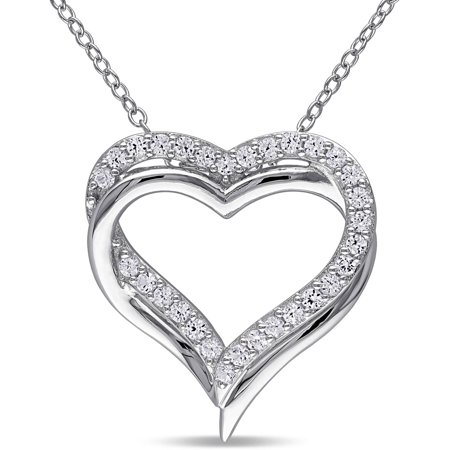 5/8 Carat T.G.W. Created White Sapphire Sterling Silver Interlocking Heart Pendant, 18