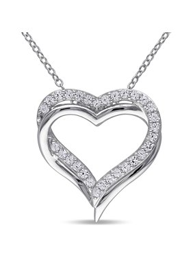 5/8 Carat T.G.W. Created White Sapphire Sterling Silver Heart Gemstone Pendant Necklace