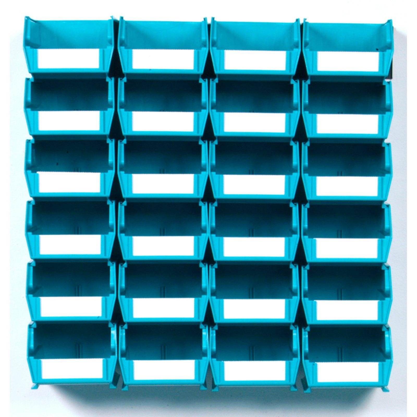 "LocBin 26-Piece Wall Storage Unit with 5-3/8""L x 4-1/8""W x 3""H Interlocking Poly Bins, 24ct, Wall Mount Rails 8-3/4""L with Hardware, 2pk"