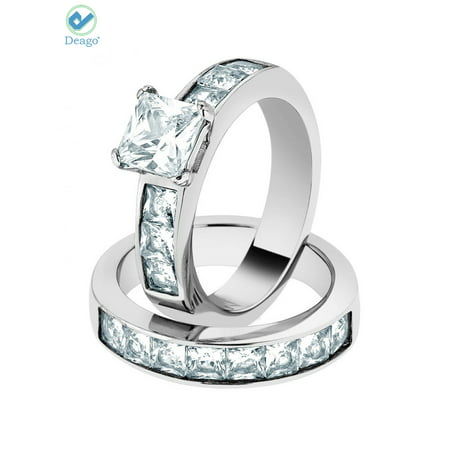 Deago 2Pcs Wedding Engagement Rings For Women Anniversary Promise Ring Bridal Sets 925 Sterling Silver Cubic Zirconia Ring (Size 10) Anniversary Wedding Bridal Ring