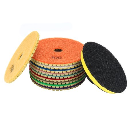(4-inch Diamond Wet Polishing Sanding Grinding Pads Disc 10 in 1 w Rubber Backer Pad)