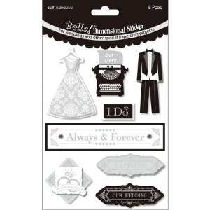 Ruby Rock-It Bella Wedding Glitter and Foil 3D Stickers, Always and Forever, Black/White Multi-Colored