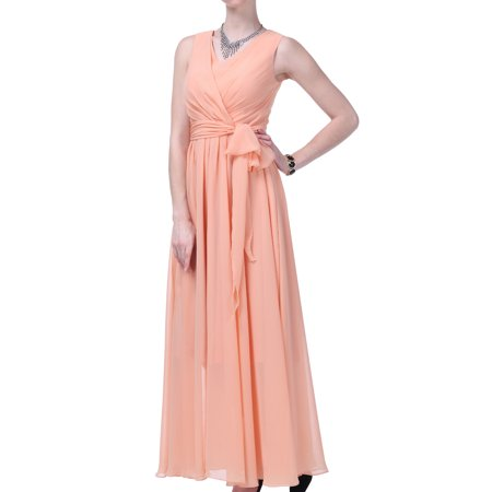Faship Womens V-Neck Full Length Formal Dress Peach -