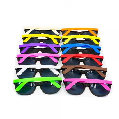 XKX 12PCS Neon 80's Style Party Sunglasses With Dark Lens For Big Bang (Sunglasses With Bangs)