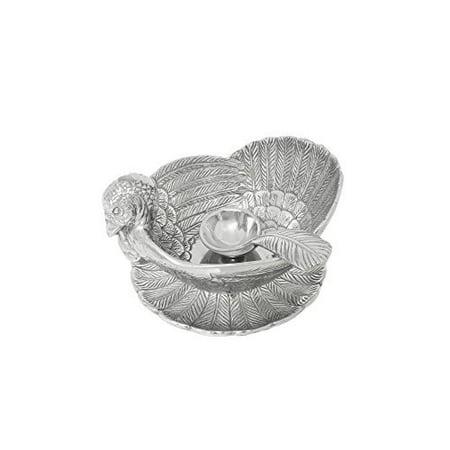 arthur court designs aluminum turkey 3-piece condiment set tray/bowl / (Arthur Court Designs Turkey)