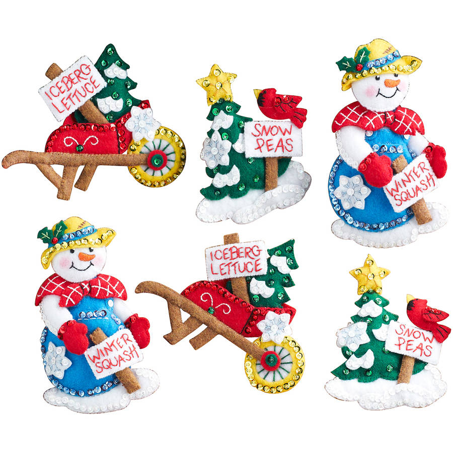 "Snow Garden Ornaments Felt Applique Kit, 4"" x 5"", Set of 6"