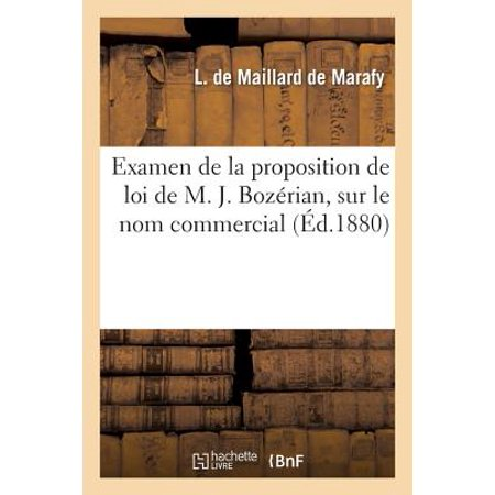 1635d17b896b31 Examen de la Proposition de Loi de M. J. Boz�rian, Sur Le Nom Commercial  - Walmart.com