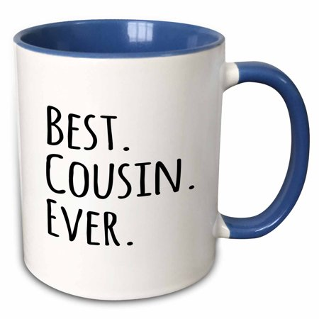 3dRose Best Cousin Ever - Gifts for family and relatives - black text - Two Tone Blue Mug,