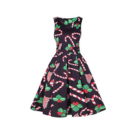 Women's Sleeveless Christmas Candy Cane Printed Vintage Cocktail Dress with Belt A-line Dress Party Dress for $<!---->