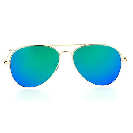 SA106 Mirrored Mirror Mens Flat Lens Pilots Metal Aviator Sunglasses Gold Teal - Teal Sunglasses