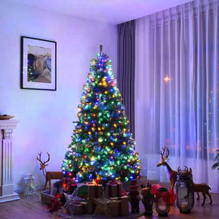 Costway 7Ft Pre-Lit Artificial Christmas Tree Premium Hinged w/ 500 LED Lights &