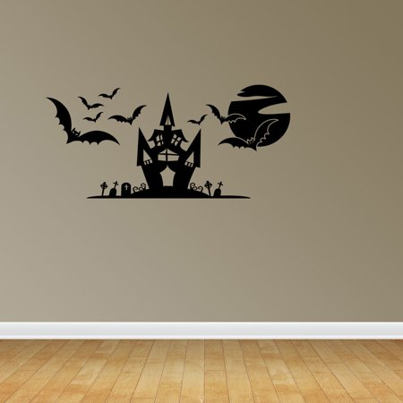 Wall Decal Quote Halloween Scene Halloween Decals Witch's Haunted House Surface Graphics Interior Decor JP651 - Halloween Quotes Pinterest