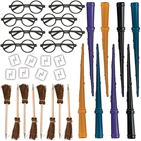 Wizard Party Favors for 8 - Includes Broom Pens, Wands, Glasses, and Lightning Scar Tattoos - Perfect for a Wizard School Theme Birthday Party (8 of each)