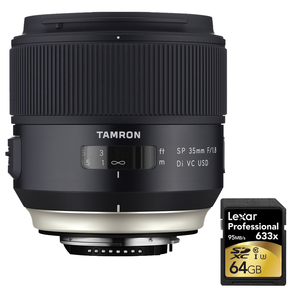 Tamron SP 35mm f 1.8 Di VC USD Lens for Nikon Mount (AFF013N-700) with Lexar 64GB Professional 633x SDXC Class 10 UHS-I... by Tamron