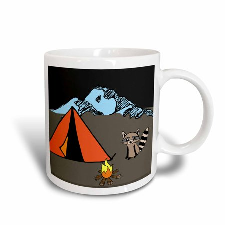 3dRose Camping with a Raccoon - Ceramic Mug, -