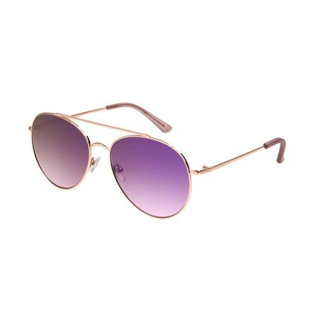 Foster Grant Women's Rose Gold Mirrored Aviator Sunglasses AA01