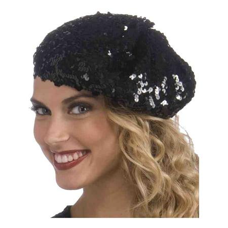 Deluxe Roaring 20s Black Sequin Flapper Girl Beret Hat