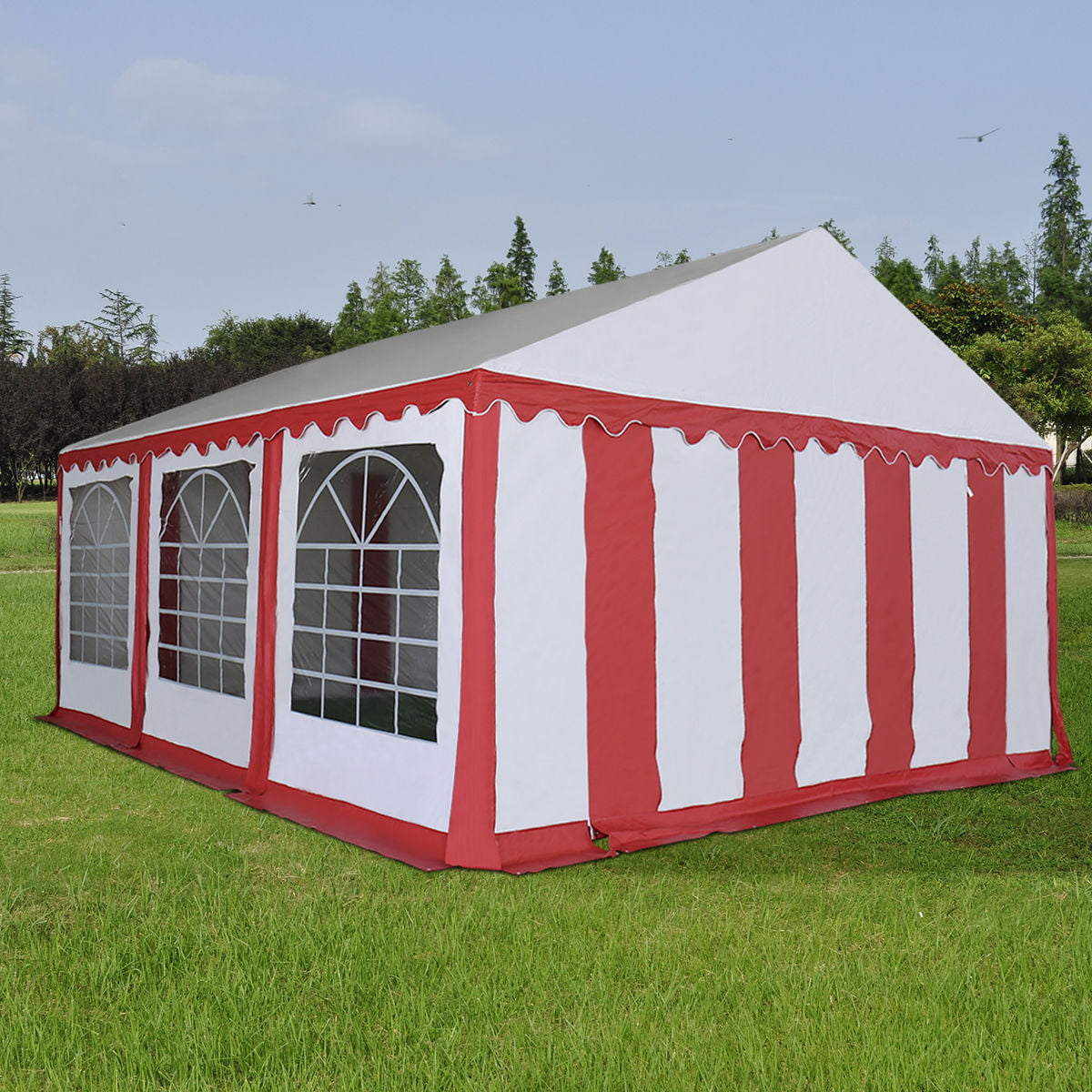 Click here to buy Costway 20'X20' PVC Tent Shelter Heavy Duty Outdoor Party Wedding Canopy Carport Red by Costway.
