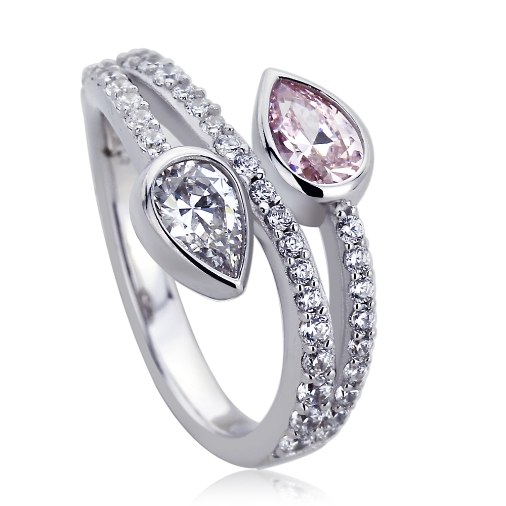 Platinum Plated Sterling Silver 1ct Pear Pink Cubic Zirconia Two Stone His & Her Ladies Ring ( Size 5 to 9 ), 6 by