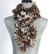 "Pack of 2 Safari Leopard Print Women's Ruffle Fashion Wrap Scarves 59"""
