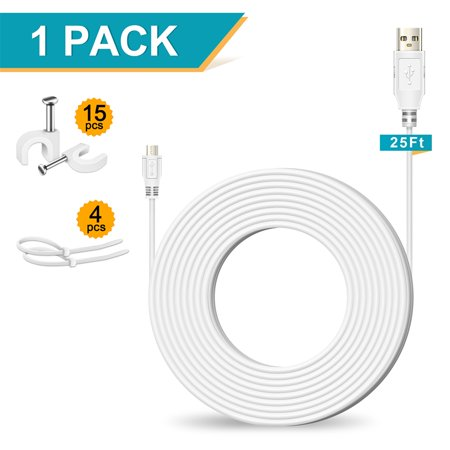25FT Power Extension Cable for Yi Camera Roku Fire Stick Amazon Cloud Camera PS3/4 Controller Xbox One Controller Fire Kindle - High Quality Micro USB