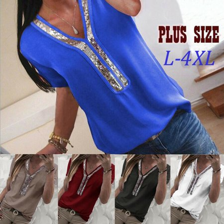 Urkutoba Women's Sexy Sequin Front V Neck Casual Fashion Short Sleeve Blouse Party Shirt