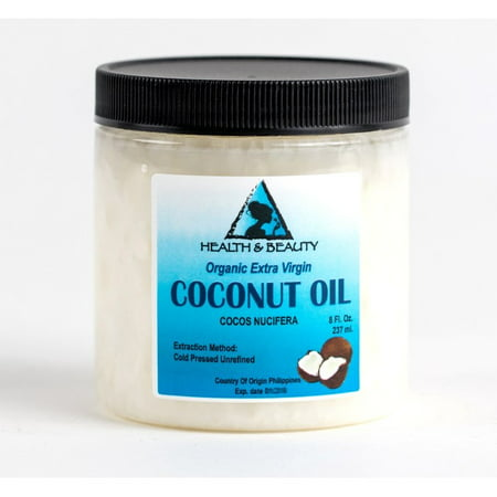 COCONUT OIL EXTRA VIRGIN UNREFINED ORGANIC COLD PRESSED RAW PURE in JAR 8