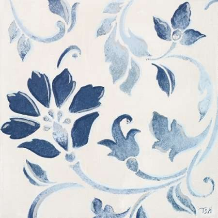 Blue Floral Shimmer I Stretched Canvas - Tiffany Hakimipour (12 x 12)