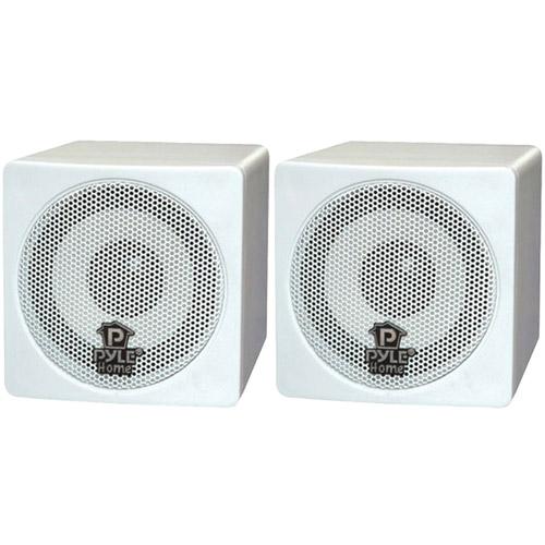 """Pyle Home PCB3WT 3"""" 100W Mini-Cube Bookshelf Speakers, White"""