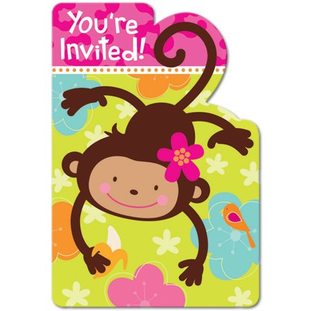 Sock Monkey Invitations (Pink Mod 'Monkey Love' Invitations w/ Env.)