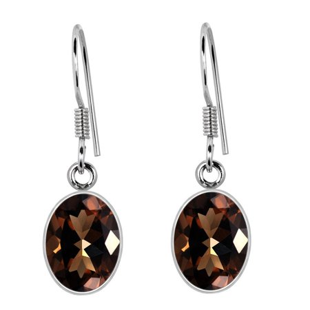 6.86 Carat Oval Cut Genuine Stylish Brown Smoky Quartz 925 Sterling Silver Daily Wear Dangle Earrings for Women