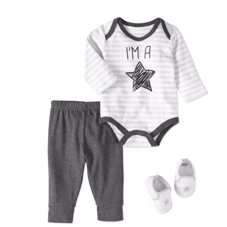 Bon Bebe Newborn Baby Boy Bodysuit  Pants   Sneaker  3Pc Outfit Set