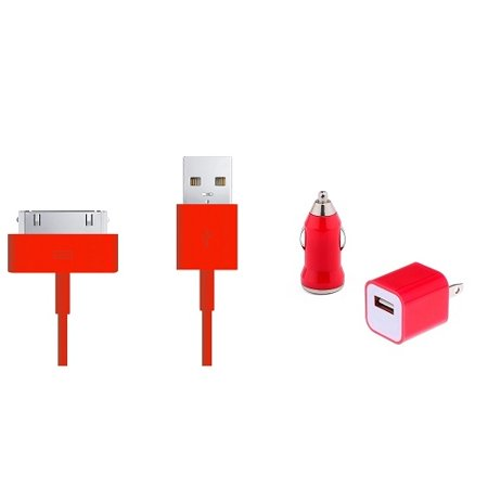 Smavco Bundle 30 Pin To Usb Sync Cable   Usb Mini Car   Travel Charger For Apple Iphone 4S 4 3Gs  Ipod Touch 2Nd 3Rd 4Th Gen  Classic 80Gb 120Gb 160Gb  Ipod Nano 1St 2Nd 3Rd 4Th 5Th 6Th Gen  Red