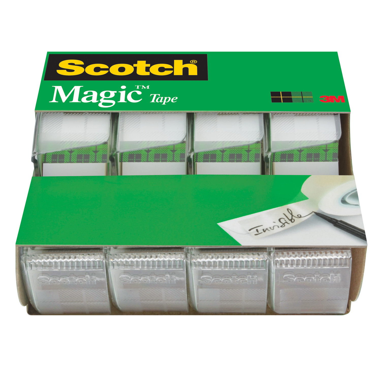 Scotch Magic Tape Dispenser 4 Pack, 3/4in. x 300in. per Dispenser, Clear