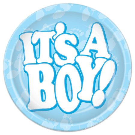 It's A Boy Plates, 9-Inch, Light Blue/White, Baby Shower Party Theme By Beistle