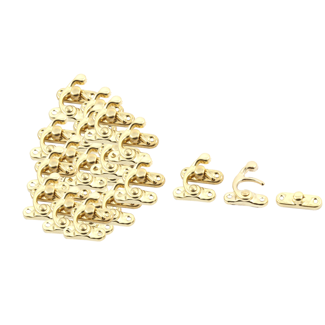 Decorative Jewelry Wine Wooden Box Hasp Latch Hook Gold Tone 20 Sets