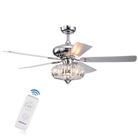 - Kyana DeBase 52-Inch 5-Blade Chrome Lighted Ceiling Fans with Crystal Bowl Shade (Remote Controlled)